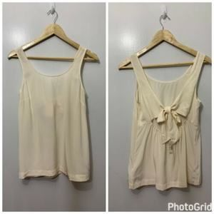 Madewell Off White Lookout Bow Back Silk Tank Top